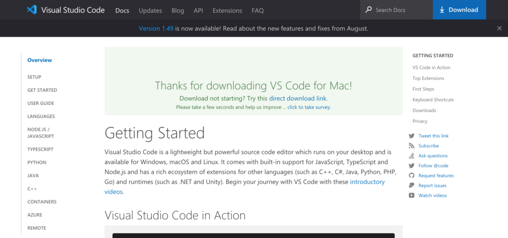 VSCode ダウンロード画面2 Windows版
