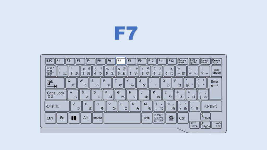 F7 カタカナ変換 ショートカット