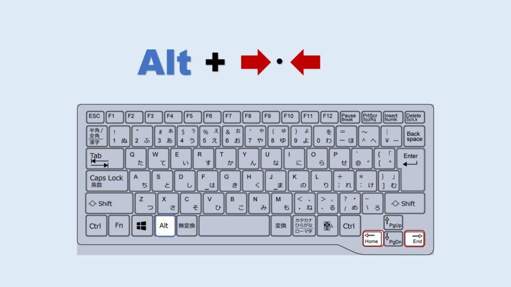 Alt + 右 左 ブラウザバック 進む ショートカット